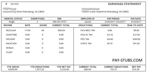 white color detailed pay stub pay stubs pay stubscom
