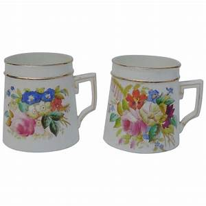 Pair, Of, Beautiful, Hand, Painted, Antique, Mugs, Flowers, The, Uncommon, Market