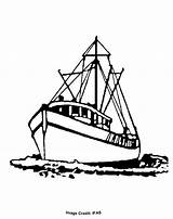 Boat Fishing Drawing Shrimp Drawings Coloring Charter Printable Fish Colouring Dock Painting Yacht Vessel sketch template