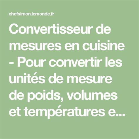 tableau de conversion pour cuisine best 20 mesure de poids ideas on mesures de