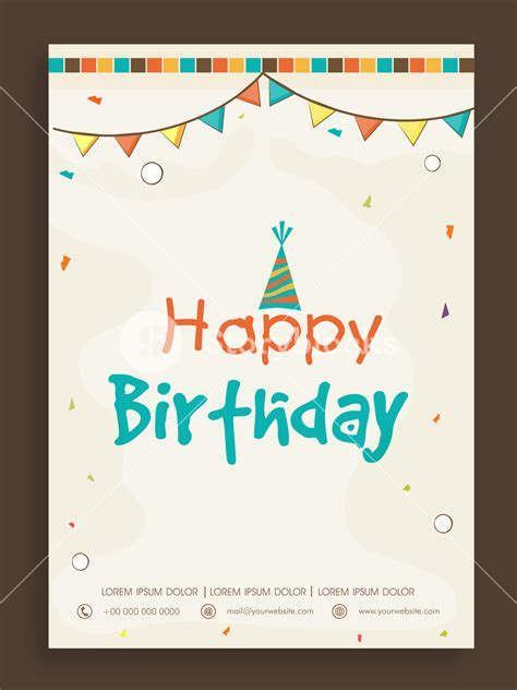 Happy Birthday invitation card design decorated with