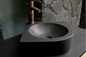 Lave Main Angle : lave mains d 39 angle granit noir 34x34 samoa black ~ Melissatoandfro.com Idées de Décoration