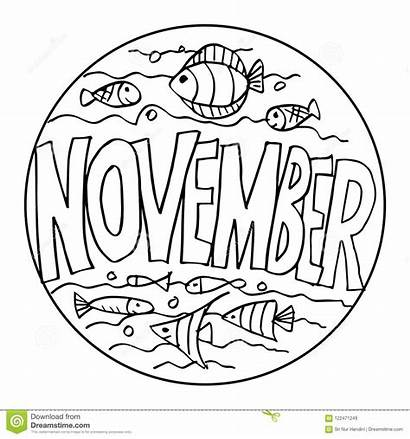 November Coloring Pages Drawing Example Illustration Hand