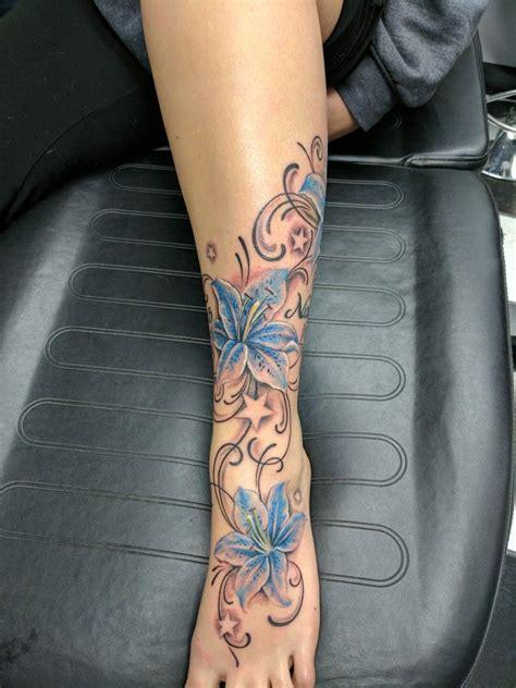 lily tattoo lilies foot ankle tattoo stars leg calf
