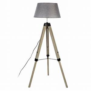 Harper grey wood tripod floor lamp grey shade astral for Tripod floor lamp silver base white shade