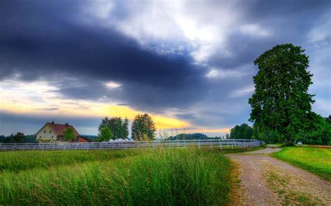 scenery sunrises  sunsets roads sky clouds nature