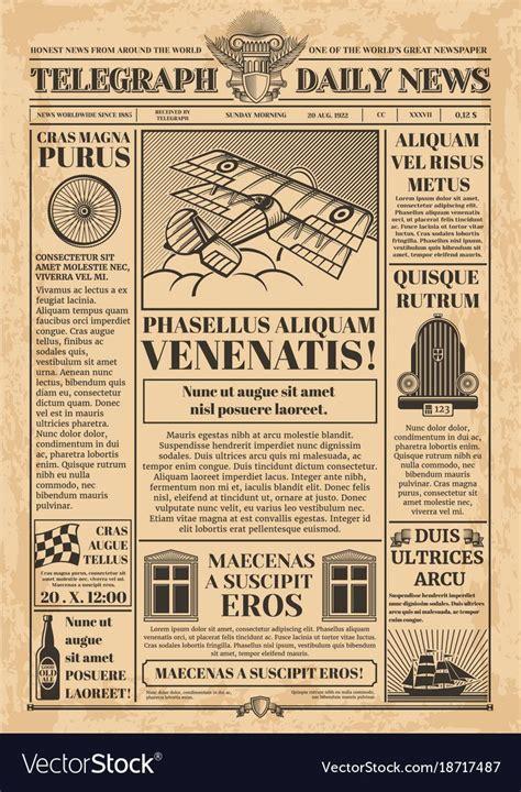 newspaper vector template retro newsprint  text
