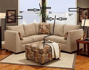 Beige fabric modern sectional sofa w optional ottoman for Barcelona sectional sofa ottoman in beige
