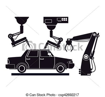 Silhouette Car Assembly Industrial Robotic Production Line