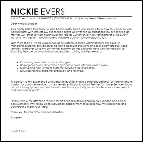 customer service associate cover letter sample cover letter templates examples