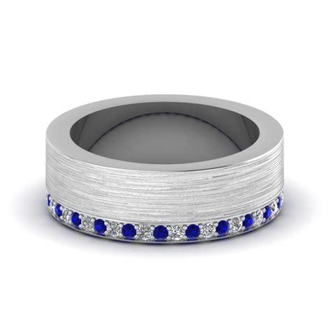 brushed diamond wedding band  sapphire   white