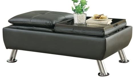 Reversible Ottoman With Tray - leatherette storage ottoman with reversible tray tops
