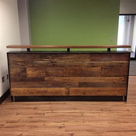 wood and steel desk reclaimed wood steel reception desk