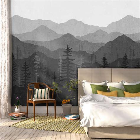 Black Ombré Mountain Mural W1078 Wallspruce