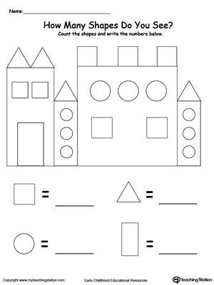 Recognize And Count The Shapes In The Castle  School  Pinterest  Math, Kindergarten And