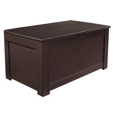rubbermaid 93 gal chic basket weave patio storage bench deck box in brown home the o jays