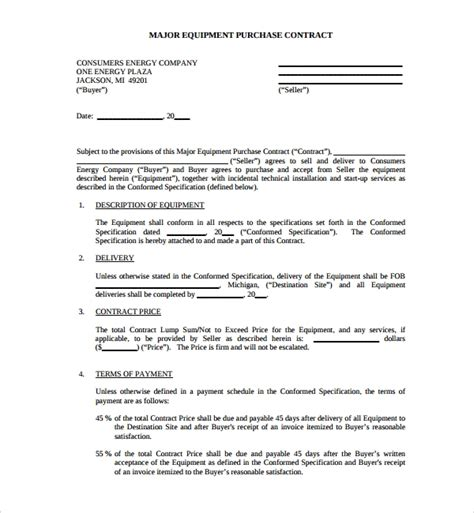 equipment purchase agreement templates sample templates
