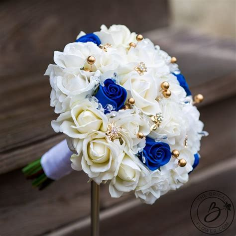 royal blue  gold pearls real touch bouquet  bridal