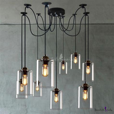 Retro Large LED Multi Light Pendant Light with Clear