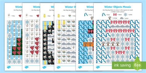 winter mosaic images worksheet worksheets teacher