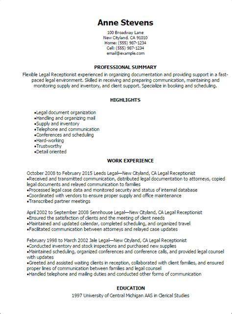 legal receptionist resume templates