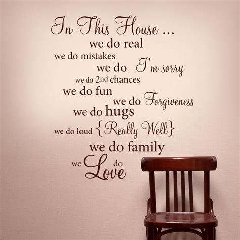 Decorating with words can be as simple as throwing a few pillows on a bed, or it can be as creative as using string art or rope to tell a story. IN THIS HOUSE Wall Words Vinyl Decal Rules Quote - Wall Decor Lettering Art on Luulla
