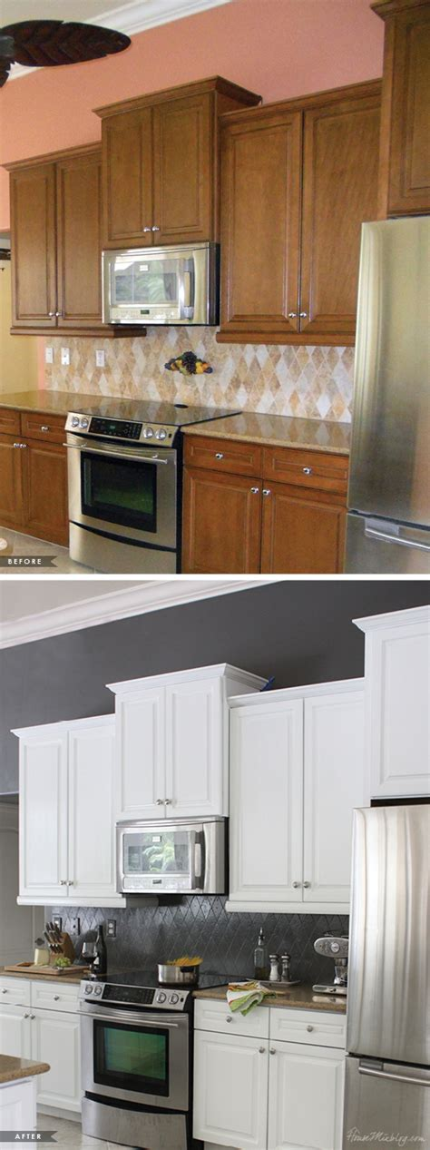 painted kitchens before and after painted kitchen cabinets and tile backsplash a year 129 | Transform your kitchen with paint before and after pictures