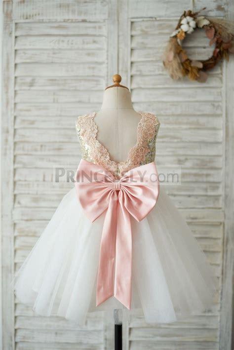 gold sequin ivory tulle   wedding flower girl dress