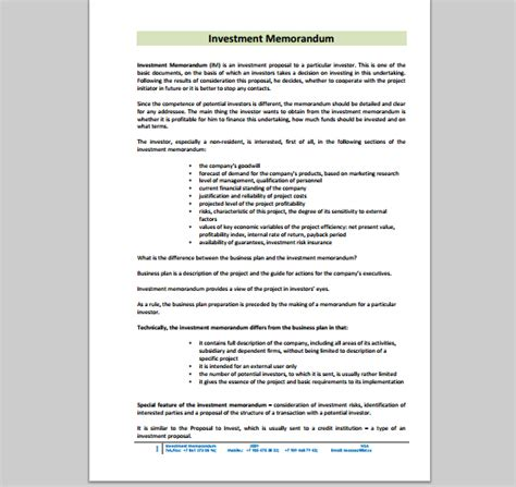 memo template  investment sample  investment memo