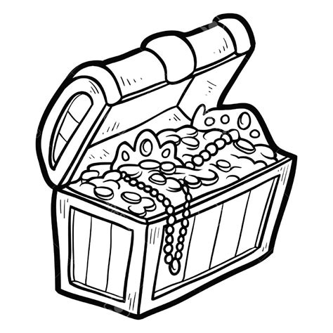 treasure chest clip art coloring pages black  white