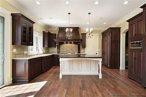 White Kitchen Cherry Wood Island Home Design and Decor
