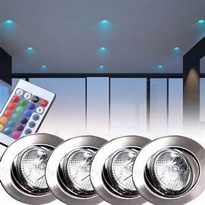 Stehlampe Mit Fernbedienung : 4er set rgb led einbaustrahler in silber mit fernbedienung ~ Whattoseeinmadrid.com Haus und Dekorationen