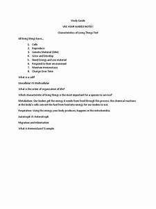 Study Guide Characteristics Of Living Things Test