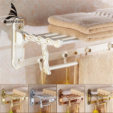 bathroom shelves folding rails brass white towel rack bath
