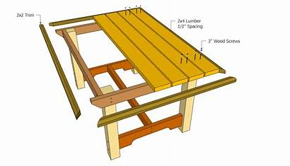 Table Plans Outdoor Wooden Attaching Woodworking Bbq