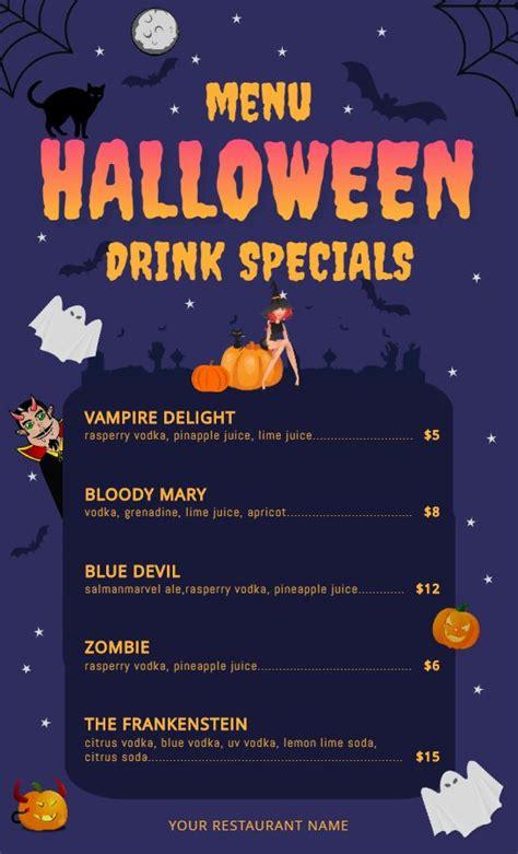 halloween kids drinks menu design template halloween