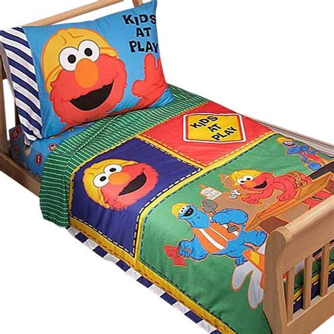 Sesame Crib Bedding by Sesame Elmo Construction 4pc Toddler Bedding Set