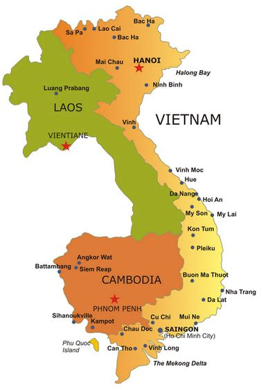 tourist map  vietnam  cambodia