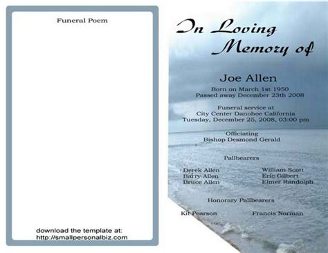 funeral program templates find sample funeral