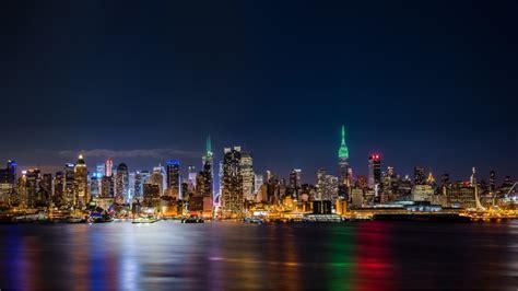 york city empire state building panorama  night