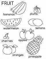 Coloring Fruit Fruits Learn Printable sketch template