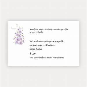 Carte Grise Apres Deces : carte de remerciement d c s croix ocre avec fleurs mauve l151 faire part de france ~ Maxctalentgroup.com Avis de Voitures