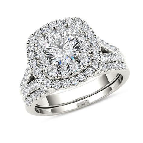 2 ct t w diamond double cushion frame split shank bridal in 14k white gold engagement