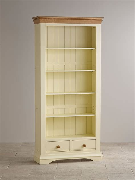 Country Cottage Natural Oak And Painted Tall Bookcase