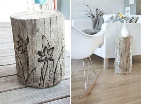 deko ideen selbermachen wohnzimmer deko und möbel aus baumstamm selber machen