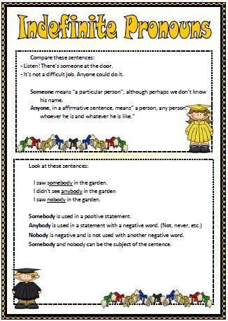 indefinite pronouns elementary worksheet