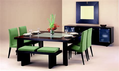 modern dining room set wonderful modern dining room sets with bench green color brown interior