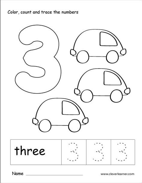 number three writing counting and identification activity worksheets for preschool children