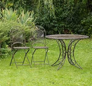 Gartenset tisch 2 stuhle gartengarnitur eisen antik stil for Französischer balkon mit tisch schmiedeeisen garten