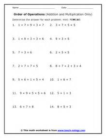 Order of Operations Math Worksheets